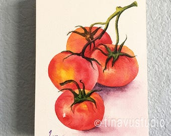 wood cradle wall art, tomatoes painting on wood cradle, tomato watercolor, ORIGINAL painting, vegetable watercolor painting, tomato artwork