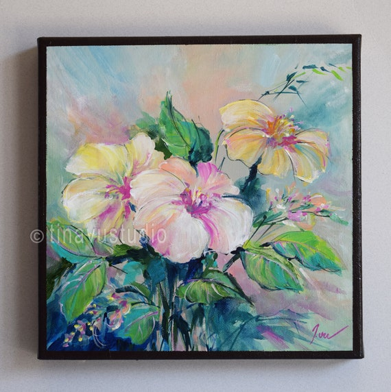 Abstract Floral Acrylic Painting Original Acrylic Artwork Square Canvas Small Canvas Abstract Acrylic Flowers Small Abstract Artwork