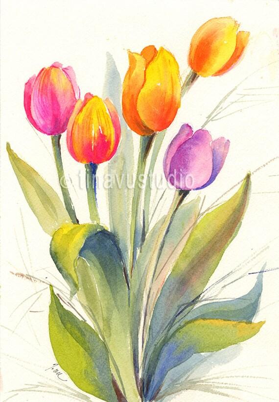 Tulip Art Tulip Painting Tulip Watercolor Spring Flower Etsy