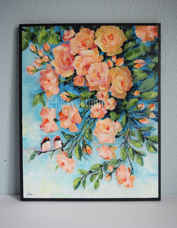 Original Flower Acrylic Painting Abstract Roses Orange Rose Painting Original Acrylic Painting Acrylic On Canvas Painting Red Robin Art
