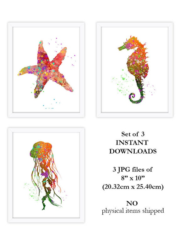 image relating to Printable Star Fish referred to as nautical artwork printable, star fish, sea horse, jelly fish, crimson and orange artwork, printable watercolor wall artwork, electronic obtain artwork, baby house