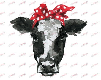 Cow Face Head Black White DIY Heifer Print Clipart | Etsy