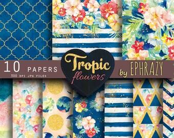 Summer Digital Paper. Tropical paper. Flower digital paper. Floral pattern. Gold digital paper. Floral digital paper. Watercolor