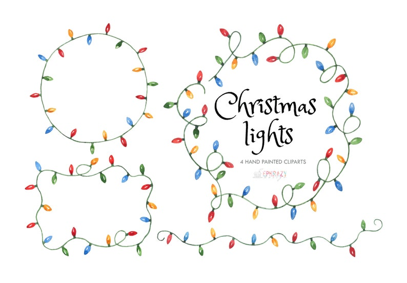 Christmas, Lights, Light, Holiday, Vintage, Frame, Decoration, Watercolor,  Clipart, png, Graphics, Digital, Shirt, Stickers
