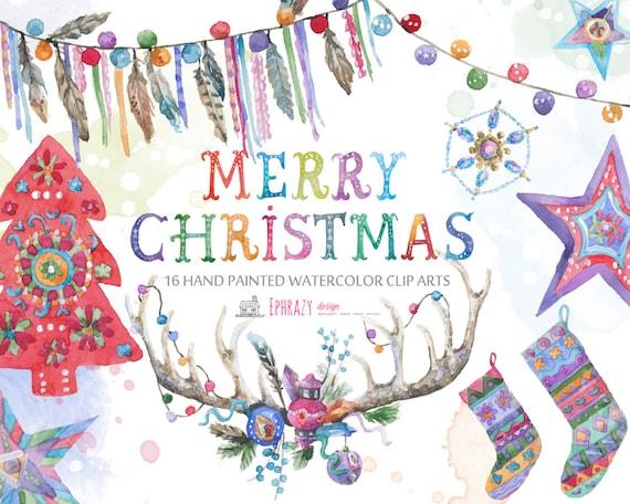 Watercolor Christmas Clipart Boho Christmas Christmas