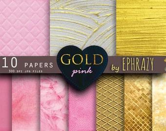Gold paper. Pink paper. Gold digital paper. Digital gold paper. Pink digital paper. Gold texture. Digital paper