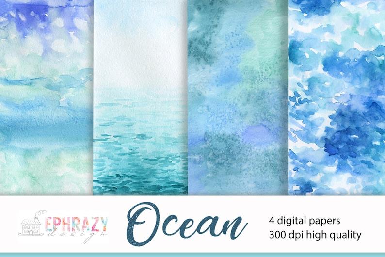 Beach Ocean Sea Watercolor,Water,Paper,Waves,Scrapbook,Digital,Background,Summer,Nautical,Aquamarine,Blue,Aqua,Green