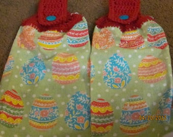 2 Crochet top towels Easter eggs decorated
