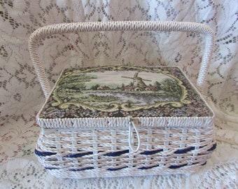 Sewing basket filled with handle, VINTAGE sewing box Basket With Handle Sewing