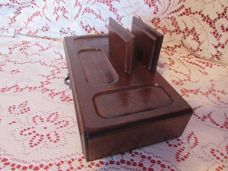 VINTAGE Wood Valet Tray Office Organizer VTG Desk Organizer VINTAGE Organizer For Father/'s Day Gift Jewelry Storage