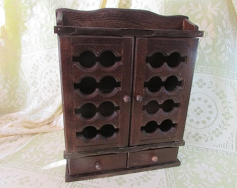 Spice Rack in Dark Brown, VINTAGE Spice rack with 2 floors and 2 drawers, Mid Century Wooden Wall Hanging Cabinet