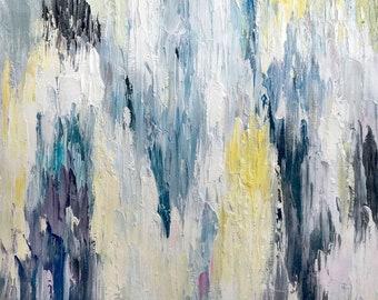 Digital Download Art: Blue Abstract Ikat Wall Art Poster. Ikat Art, Gallery Wall Art, Instant Download Digital Print, Printable Wall Art