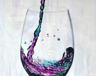 Digital Download Art: Wine Art Poster. Wine Gallery Wall Art, Wine Painting Wall Decor, Instant Download Digital Print, Printable Wall Art