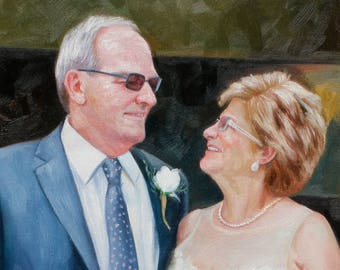 50th Anniversary Art Gifts for Parents. 30th Anniversary Gift for Parents. Custom Gift Personalized Gift. Wedding Oil Painting on Canvas