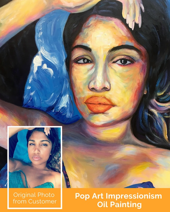 Custom Pop Art Oil Painting Portraits On Canvas From Photo