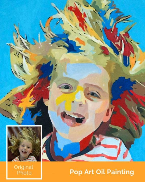 Custom Pop Art Oil Painting Portrait Based On Mom S Favorite Photo