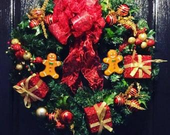 christmas wreath door door wreath christmas gingerbread wreath front door christmas decoration animated christmas decorations - Christmas Animated Decorations