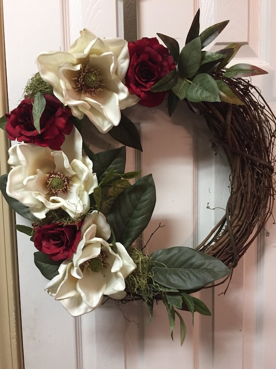Magnolia Grapevine Wreath For Front Door 18 Or 24 Inches Etsy