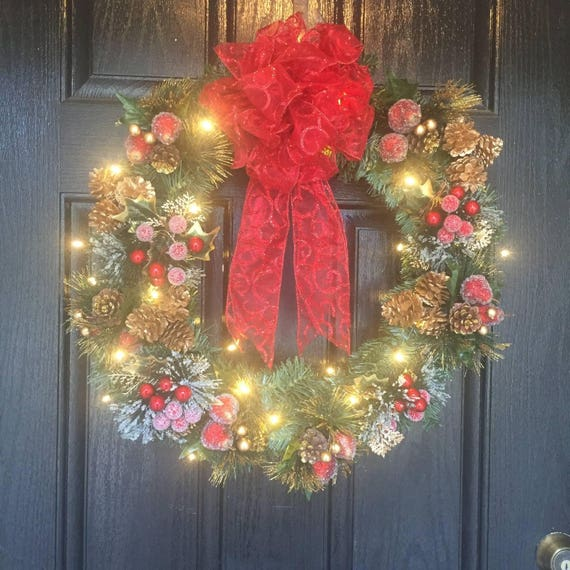 image 0 - Christmas Wreaths For Front Door Lighted Christmas Wreath Etsy