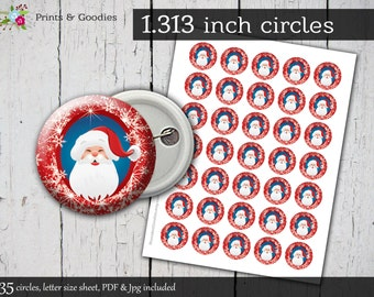 "Santa printable button machine 1.313"" circles, Christmas digital pin, instant download buttons making, bottle caps images, Santa clipart Jpg"