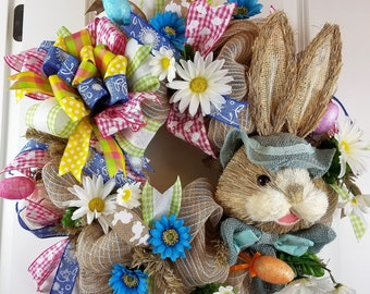 Easter Wreath, Easter Decorations, Easter Decor, Easter Bunny, Easter Eggs, Mesh Wreaths, Spring Wreaths, Floral Wreath, Spring Decor