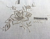 Embroidered Square Tablecloth. Machine Embroidered Vintage Linen Tablecloth. Ivory Ecru Cutwork Embroidered Linen Tablecloth RBT2492