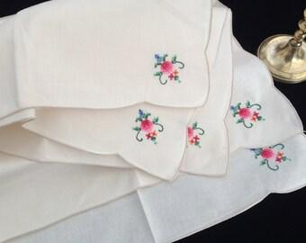 Set of 3 Vintage White and Blue Floral Hand Embroidered Applique Linen Napkins 3 Applique Linen Napkins RBT3988 Linen Napkins