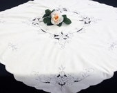 Embroidered Square Tablecloth. Madeira (Cutwork) Embroidered Vintage Linen Tablecloth. Ivory Grey Embroidered Linen Tablecloth RBT3533