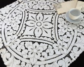 Embroidered Madeira (Cutwork) Vintage Linen Tablecloth with Four Matching Napkins