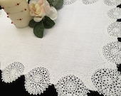 Antique Irish Damask Linen and Lace Table Topper with Whitework Embroidery and Crochet Edging EL0553