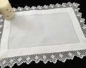 Antique Irish Linen and Lace Table Topper with Ajour Openwork Embroidery and Filet Crochet Edging EL0549