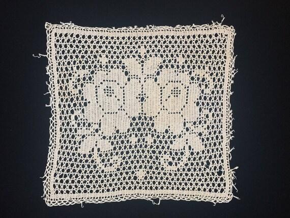 Häkeldeckchen. Antikes Deckchen. Vintage Rosen Filet | Etsy