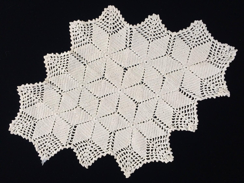 Crocheted Doily Vintage Oval Crochet Lace Doily Oval Crocheted