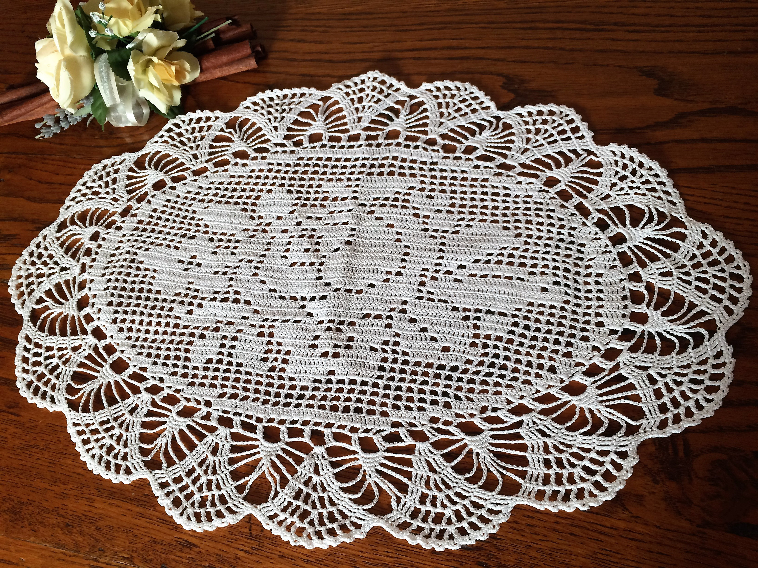 Vintage Lace Oval Doily Or Table Runner Oval Filet Crochet Doily