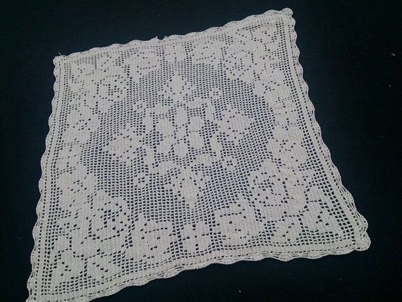 1950s hand done mid century large square doily vintage hand made crochet lace Set of four white crochet runner and doilies farmhouse