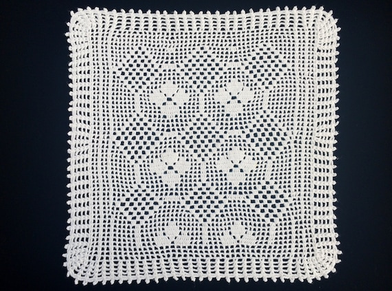 Filet Deckchen. Quadratische Deckchen. Weiße häkeldeckchen. | Etsy