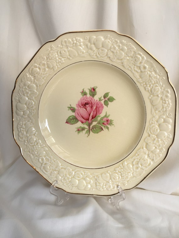 Meat  Serving Plate 10.5 Inch Ashet Vintage Pretty Embossed Cream Crown Ducal Florentine Serving Plate with Pink Rose and Gilt Edging