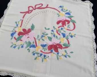 Vintage Hand Embroidered Square Cushion Cover. Flowers and Ribbons Design Antique White/Off White Linen with Crochet Lace Edging RBT0803