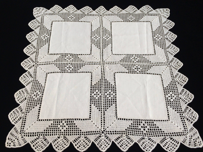 Vintage Spitze und Leinen Tischdecke. Weiße Damast Bettwäsche | Etsy
