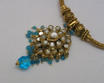 Wide Chain Pendant Necklace . Byzantine style . Jewels of India