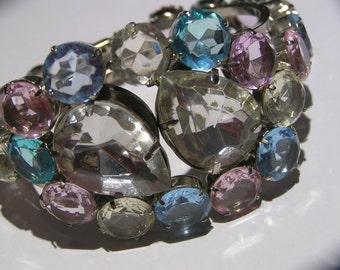 Massive Wide Bangle . Faux Gemstones . Statement jewelry