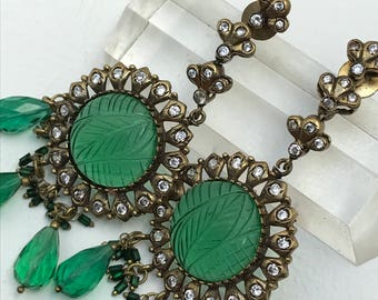 Massive Dangle Earrings . Carved emerald glass . Victorian revival jewelry