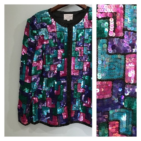 Stunning Multi colored  Beaded Sequin Jacket  . Be
