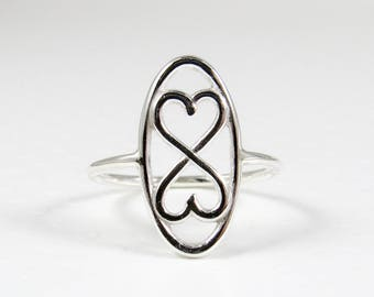 Sterling Silver Ring, Heart Ring, Skinny Ring, Two Hearts Ring, Bridesmaid Gift, Promise Ring, Gift for Her