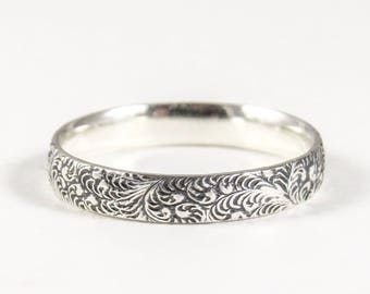 9ccb2f37b Sterling Silver Ring Vintage Style, Thumb Ring, Silver Stacking Ring,  Wedding Ring for Women Floral Lace Fern Design