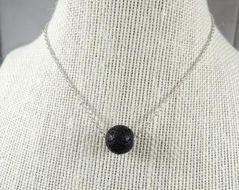 Essential Oil Diffuser Necklace, Black Lava Stone Necklace, Minimalist Black Necklace