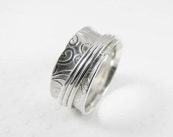 Sterling Silver Spinner Ring, Patterned Embossed Meditation Ring, Fidget Ring, Worry Ring