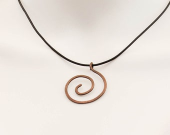 Copper Spiral Necklace, Hammered Copper Minimalist Pendant, Copper Anniversary Gift for Her