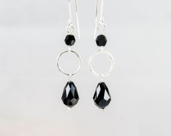 Black Dangle Earrings Swarovski Crystal and Sterling Silver, Elegant Black and Silver Earrings, Black Earrings, Bridesmaid Jewelry