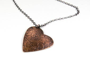 Copper Heart Necklace, Antique Copper Heart Pendant, Hammered Copper Jewelry, Hand Forged Copper Jewellery